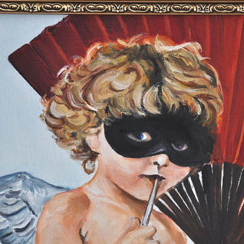 Cupid at the Masquerade Ball, Franz von Stuck Master copy, hand made oil painting on canvas, the god of love.