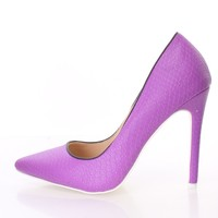 Purple Snake Skin Textured Single Sole Pump Heels Faux Leather