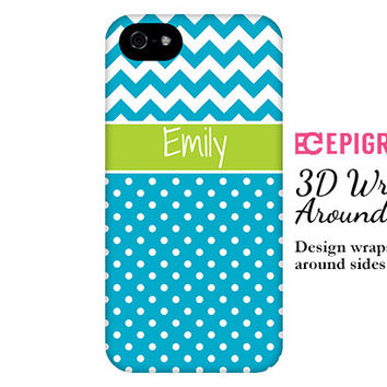 Personalized iPhone 6 case, turqouise iPhone 6 plus case, polka dot iPhone 5c case, chevron iPhone 4s case, personalized Galaxy S6 case