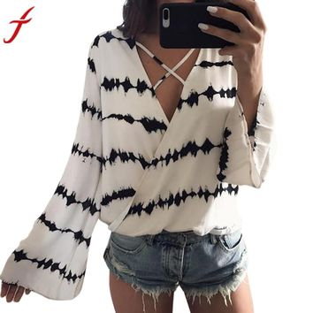 Sexy Women Bandage Blouse 2018 Summer Loose Long Sleeve Stripe Printed Tops Casual White Chiffon Blouse kimono