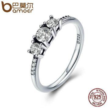 BAMOER Real 100% 925 Sterling Silver Fairytale Sparkling Ring, Clear CZ Finger Ring for Women Wedding Engagement Jewelry PA7645