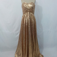 Long Sweetheart A Line Sequins Gold Prom Dress