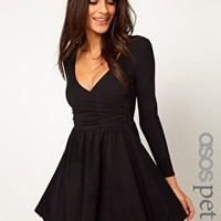 ASOS PETITE Exclusive Long Sleeve Skater Dress With Ballet Wrap at asos.com