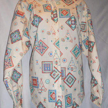 Vintage 80s Gorgeous Southwestern Print Long Sleeve Button Down Women's Size Medium Special Print Hipster Fashion