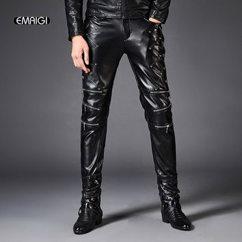 Men Zipper PU Leather Pants Punk Rock Style Male Slim Leather Motorcycle Pants Fashion Rock Punk Casual Boot Trousers for Men