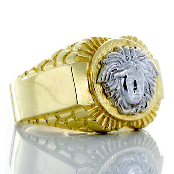 10k Yellow Gold Versace Ring with Nugget Stamped Shoulders.