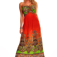 Red Paisley Print Strapless Maxi Dress