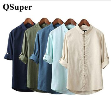 QSuper Men Linen Shirts Long Sleeve Chinese Style Mandarin Collar Traditional Kung Fu Tang Casual Social Shirt Brand Clothing