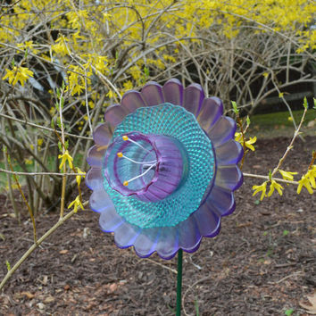 Flower Art, Outdoor Garden Decoration, Glass Plate Flower, Yard Art, Gift  For