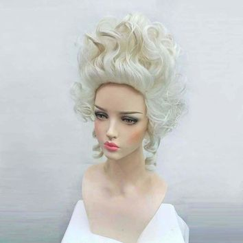 Marie Antoinette Wig Princess Medium Curly Hair Cosplay Wig + Wig Cap