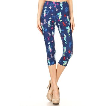 Women's Regular Mermaid Jellyfish Starfish Printed Cropped Capri Leggings