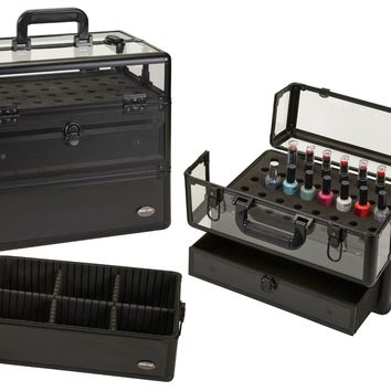Seya Professional 45 Nail Polish Clear Panel Makeup Artist Organizer Cosmetic Case w/ Slide Out Drawer - Flat Black