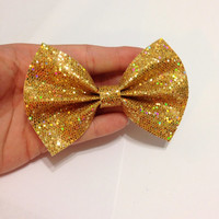 Yellow Gold Glitter Canvas Hair Bow on Alligator Clip - 4 Inches Wide - AFFORDABOW Line - Affordable and High Quality Hair Bows
