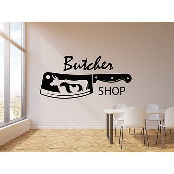 Vinyl Wall Decal Butcher Shop Knife Bull Chicken Sheep Beef Meat  Stickers Mural (g1216)