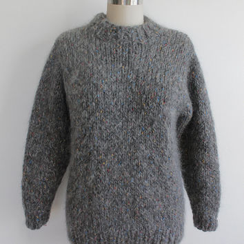 Vintage 80s Gray Speckled Fuzzy Knit Oversized Sweater
