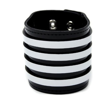 Black & White Stripe Leather Wristband by Dysfunctional Doll Metal