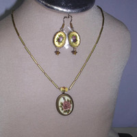 Rose Flower Ceramic Pendant Brass Bead Necklace - and Matching Earrings