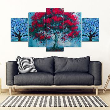 Tree Art Print 5 Piece Framed Canvas- Free Shipping