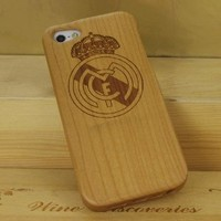 Real Madrid Club De Fútbol Logo Natural Handmade Cherry Wood Case Cover Protective Shell for Iphone 5