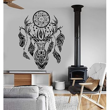 Vinyl Wall Decal Deer Dream Catcher Feathers Ethnic Style Stickers Unique Gift (ig3891)