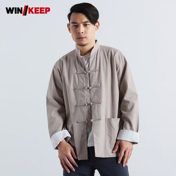 Vintage Single Breasted Cotton Linen Mens Wing Chun Kung Fu Sports Shirt Full Sleeve Loose Fit Kendo Meditation Male Tops Shirts