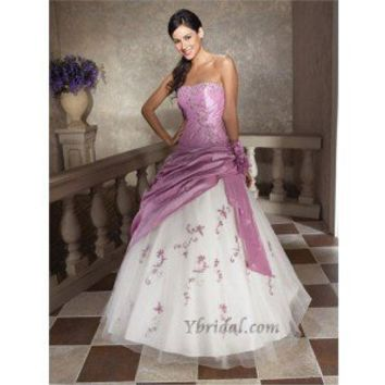 Ball Gown Strapless Floor-Length Taffeta and Tulle Prom Dress SBG0061