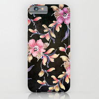 BLACK VINTAGE FLOWERS - for iphone iPhone & iPod Case by Simone Morana Cyla