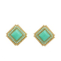 SQUARE ENAMEL STUD EARRINGS