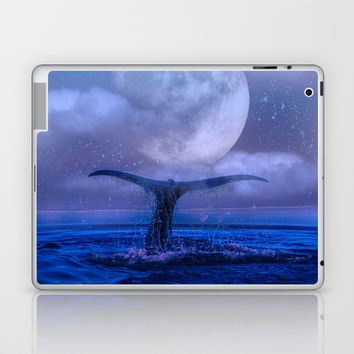 WHALE SWIMMING WITH FULL MOON Laptop & iPad Skin by Digital Effects