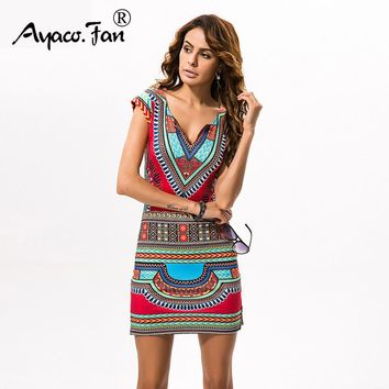 New Ladies Summer Dress Casual Short V-neck Sexy African Dresses Dashiki Traditional Print Mini Womens Beach Dress Vestidos