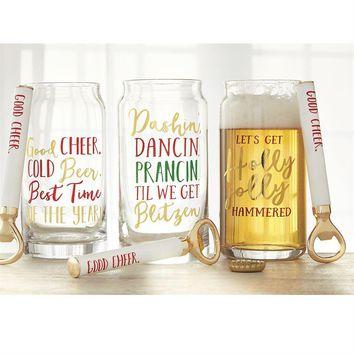 Christmas Beer Glass & Opener Sets from Mud Pie