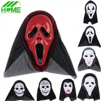 Halloween Cosplay Slipknot Payday Skull Mask Latex Party Dress Ghost Scary Scream Masquerade Ball Black Anonymous Hood Masks