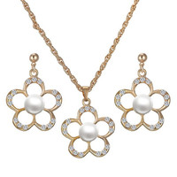 Cut Out Floral Faux Pearl Necklace and Earrings