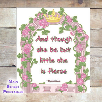 Though She Be But Little, She is Fierce, Shakespeare, Nursery Art, Art Typography, 8 X 10 Print Wall Art Poster,  INSTANT DOWNLOAD