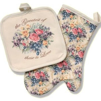 Sandy Clough Love Among the Roses The Greatest of these is Love Mitt and Potholder Set