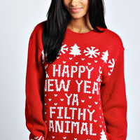 Hollie Happy New Year Ya Filthy Animal Jumper