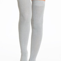 Abbey Ribbed Over the Knee Socks in Light Gray - $17.00 : ThreadSence.com, Your Spot For Indie Clothing  Indie Urban Culture