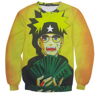 Naruto Cool For School All Over Print Hip Hop Rapper Rich Naruto Cartoon Crew Neck Sweatshirt