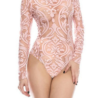 Nude Sheer Shadowed Bodysuit