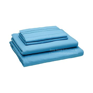Twin XL Extra Long / Dorm / Hospital Bed Sheets - Beach Blue - Deep Sleep 1800 Thread Count 3 pc Sheet Set - Breathable, Ultra Soft, Deep Pockets