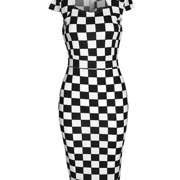 Streetstyle  Casual Modern Black White Plaid Bodycon Dress
