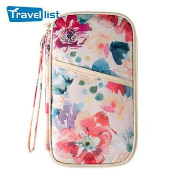 DCCKU62 2017 TRAVEL LIST new arrival flower printing traval Passport Bag travel accessories Wallets ID Card Holder Organizer Bag Purse