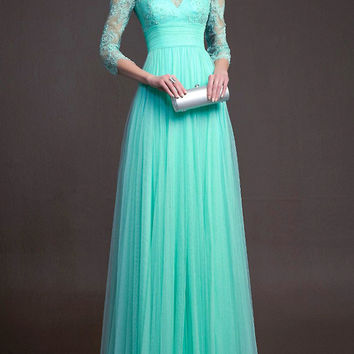 Turquoise Half Sleeve Lace High Waist Pleated A-Line Maxi Dress
