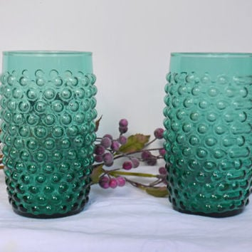 1930s Turquoise Hobnail Tumblers/Depression glass turquoise blue glasses/Depression Glass Turquoise/Teal Glasses/Vintage Aqua Glass