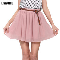 Women Chiffon High Waisted Mini Skirt Dress for Casual Beach Summer Holliday _ 3195
