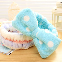 New Multifunctional Flannelette Bows Elastic Headband for Bath Shower Exercise Headwear Hair Accessories