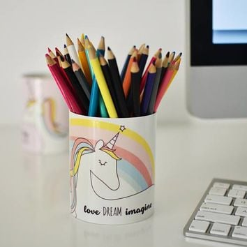 Love Dream Imagine Unicorn Pencil Cup / Pencil Holder / Makeup Storage