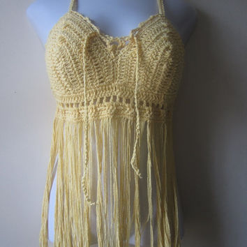 ON SALE Crochet Cream Elongated Fringe Top, Music festival clothing, gypsy top, Bohemian top, Summer top, Cotton