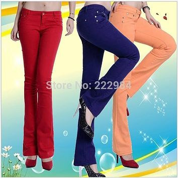 2017 Autumn Winter Fashion casual candy color stretch lengthen slightly flare thin capris long trousers pants clothing for women