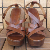 Vintage Brown Leather Platform Wedges Shoes Sandals Brand Burberry Size EUR 40 US W 9